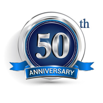 Celebrating 50th anniversary logo, with silver ring and ribbon isolated on white background.