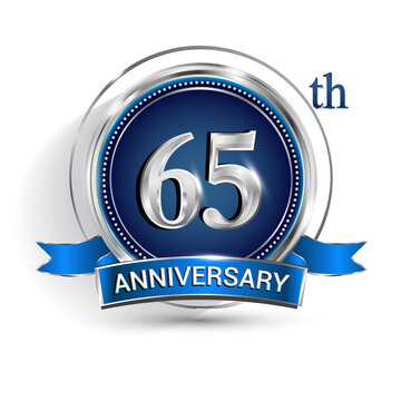 Celebrating 65th anniversary logo, with silver ring and ribbon isolated on white background.