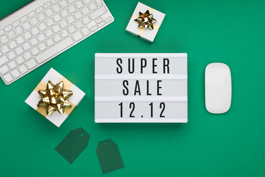 Double 12 Mega sales day concept. Online shopping of China.