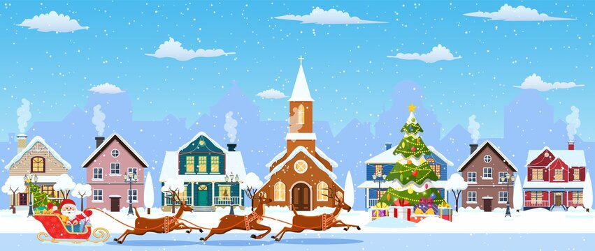 happy new year and merry Christmas winter old town street. christmas town city seamless border panorama. Santa Claus with deers. Vector illustration in flat style.