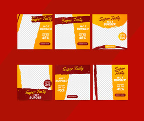 Wall Mural - social media template banner food sale promotion. fully editable instagram and facebook square post frame puzzle organic sale poster. burger food