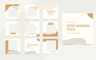 Wall Mural - organic social media template banner fashion sale promotion. fully editable instagram and facebook square post frame puzzle organic sale poster. brown vector