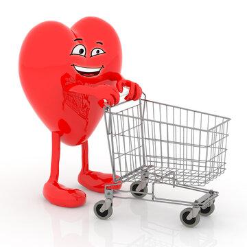 big heart cartoon with shopping cart