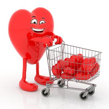 big heart cartoon with shopping cart full of little hearts
