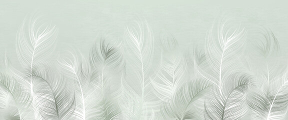 Beautiful decorative feathers on a light pistachio background. Interior printing. The mural art.