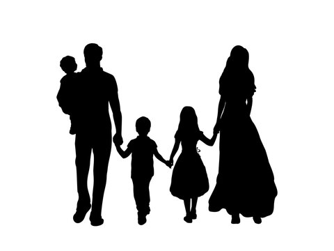Family silhouettes father mother and three children from back
