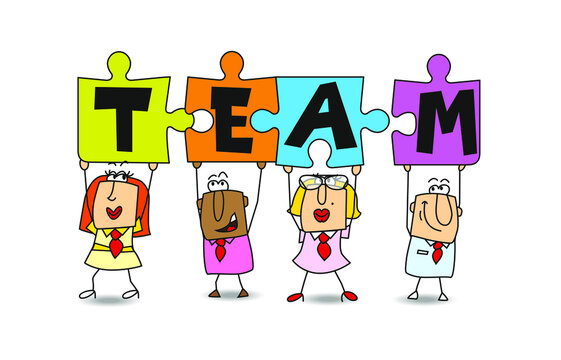 Good team members for business success. Success in this competitive field will depend on good team work. Businessmen and businesswomen hold puzzle pieces in their hands.