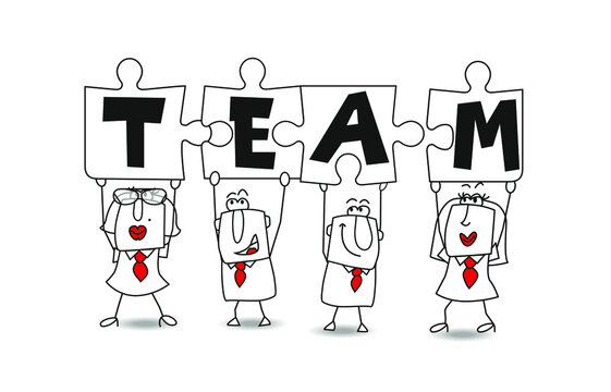 Team members for business success. Success in this competitive field will depend on good team work. Businessmen and businesswomen hold puzzle pieces in their hands. It is a metaphor of a good team