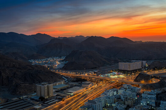 Beautiful Orange sky over Muscat city in the evening. Shot from a hilltop.