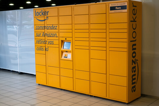 Mulhouse - France - 5 November 2020 - View of amazon locker machine at the supermarket gallery