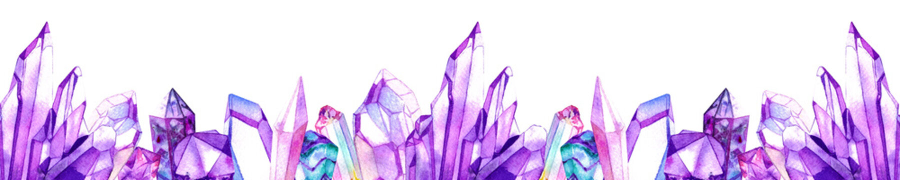 Purple watercolor crystal gems frame. Hand drawn illustration isolated on white background.
