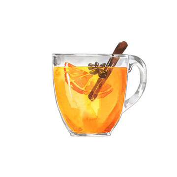 Glass of white mulled wine or tea or cider with fruit orange and cinnamon. Hand drawn watercolor illustration.