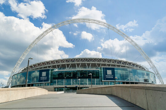 London, UK, July 29, 2007 : Wembley Stadium at Wembley Park Middlesex is a national sports venue hosting major football matches and is a popular travel destination tourist attraction landmark