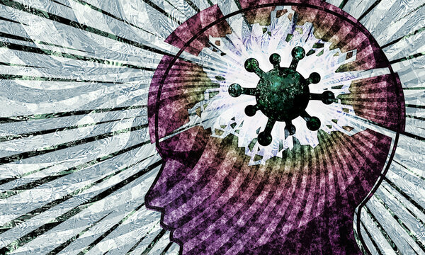 coronavirus pandemic mental health and wellbeing  impact covid virus cell in head breakdown with grunge swirl effect in grey and manga ray burst