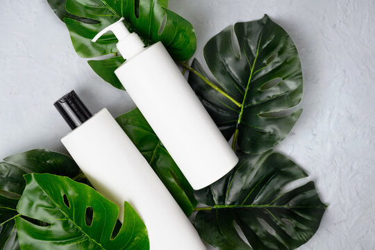 Beauty products bottles mockup. Blank cosmetics containers and plant leaves. Natural cosmetics concept. Body care, hair care.