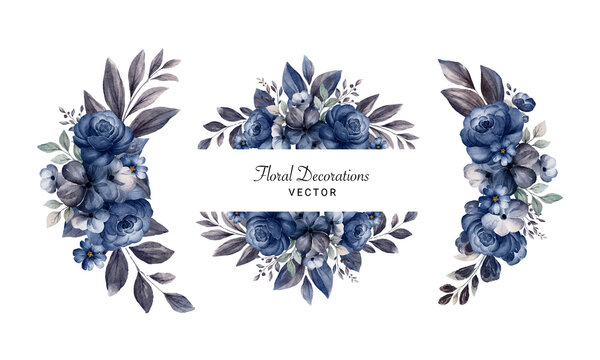 Set of watercolor floral arrangements of navy blue roses and leaves. Botanic decoration illustration for wedding card, fabric, and logo composition