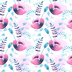 Pink and blue watercolor flowers on a light pink and white background. Watercolor seamless summer pattern. Cute poppies and herbs.