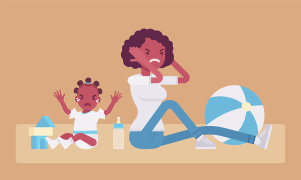 Postpartum depression symptoms, black mum in anger with crying baby. Young mother in depressed mood closing her ears with hands feeling sick, angry or fatigued. Vector flat style cartoon illustration