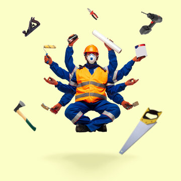 Handsome contractor, multi-armed builder levitating isolated on yellow studio background with equipment. Concept of professional occupation, work, job, building, investment. Multi-task like Shiva.