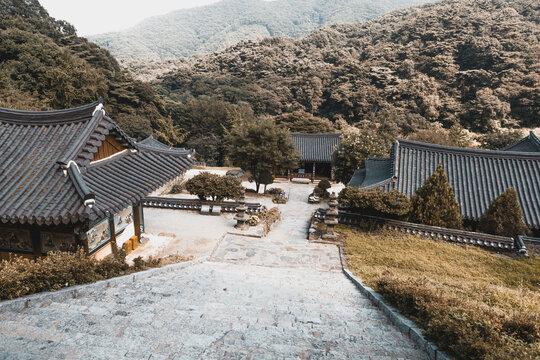 SEOUL, SOUTH KOREA - AUGUST 7, 2015: Beautiful view on buddhist monastery at mountainous area somewhere near Seoul city - South Korea