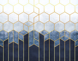 Geometric abstraction of hexagons on a blue relief background with gold elements. Fresco for interior printing, Wallpapers.