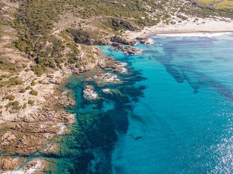 rocky coastline and Ostriconi beach in Corsica