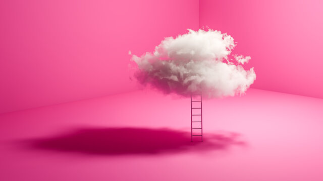 Success concept: A ladder leaning against a real cloud in a pink room. The sky is the limit.