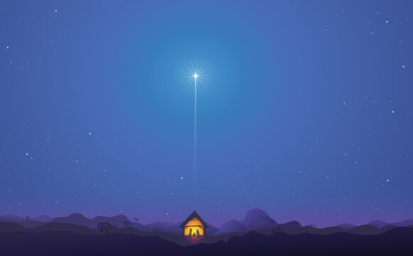 Shining star landscape above the nativity scene in bethlehem in the middle of the desert
