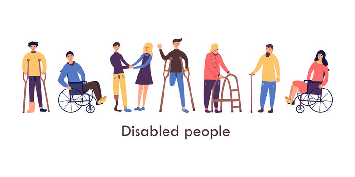 Disabled people. Young and senior. Couple of seniors. Man and woman in wheelchairs, man with cast, guy with an amputated leg on crutches, guy with prosthesis. Isolated cartoon vector illustration