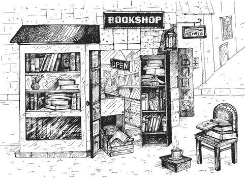 Open european bookshop exterior