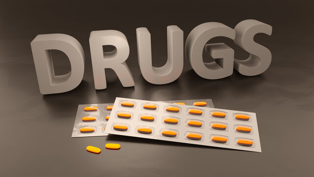 the word drugs and some pills