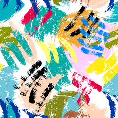 seamless abstract background composition, with paint strokes and splashes