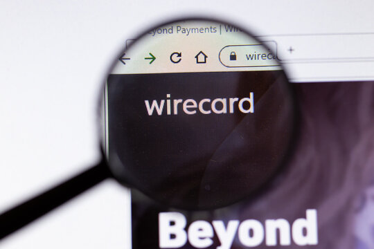 Saint-Petersburg, Russia - 18 February 2020: Wirecard company website page logo on laptop display. Screen with icon, Illustrative Editorial