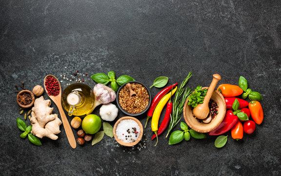 Cooking ingredients on black background