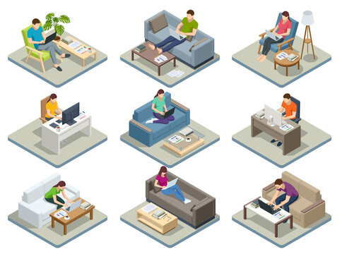 Isometric business man amd woman working at home with laptop and papers on desk. Freelance or studying concept. Online meeting work form home. Home office.