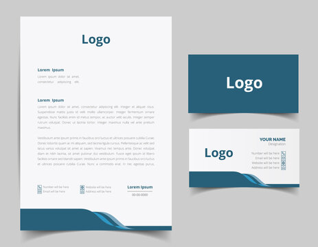 Letterhead and business card template design. Modern Creative & Clean business style with corporate pattern. letterhead design set. business card set. full vector file