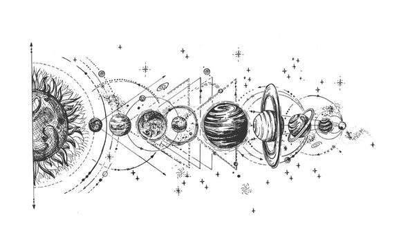 Solar system infographic sketch