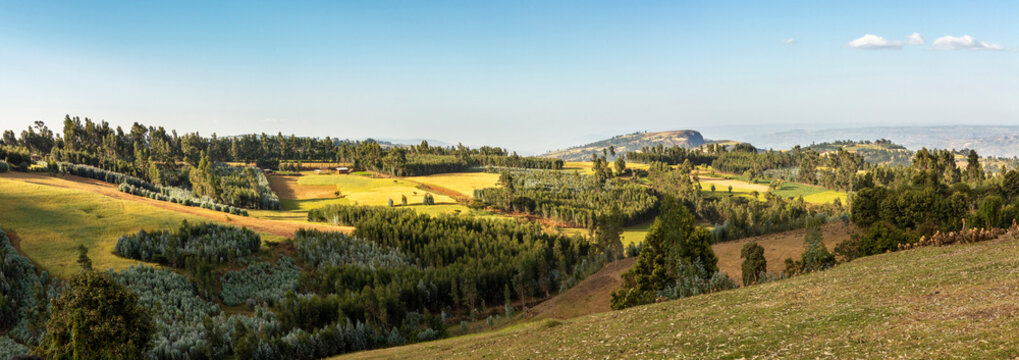 Panorama of the beautiful highlands of Ethiopia.