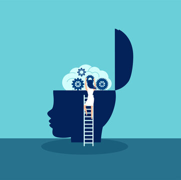 Vector of a female doctor psychologist climbing up a ladder to examine kid brain