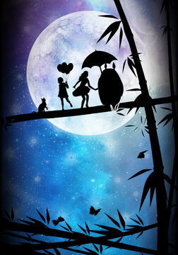 Our friend Totoro silhouette art