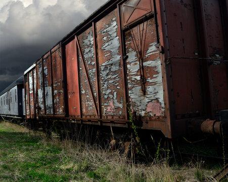 old shabby railroad cars