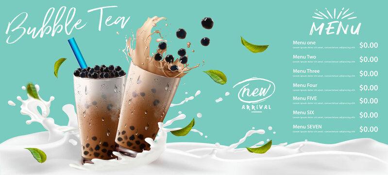 Bubble milk tea, Pearl milk tea , Different sorts of Boba. Yummy drinks. Ads with delicious tapioca.  Restaurant cafe menu, template design. Food flyer. Chalk board, retro menu restaurant poster.