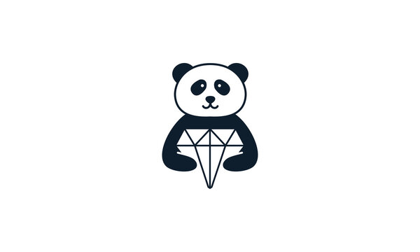 animal panda with diamond logo vector icon design