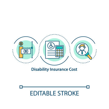 Disability insurance cost concept icon. Short and long term coverage. Calculate monthly premiums idea thin line illustration. Vector isolated outline RGB color drawing. Editable stroke.