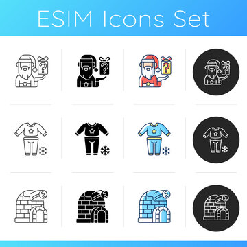 Christmas entertainment icons set. Secret Santa event. Pajama night. Ice fort. Arctic igloo. New Year sleepover party. Linear, black and RGB color styles. Isolated vector illustrations