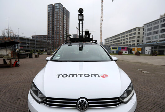 TomTom logo and camera are seen on a vehicle in Eindhoven