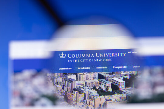 Los Angeles, California, USA - 3 March 2020: Columbia University website homepage logo visible on display screen, Illustrative Editorial
