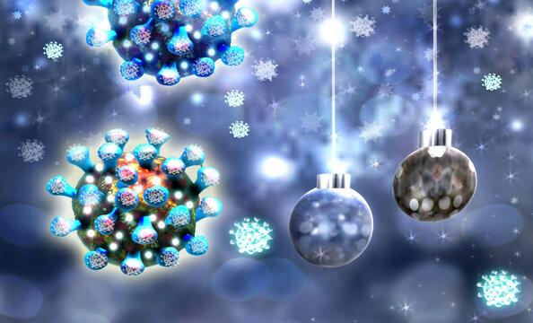 Christmas background with balls and coronavirus Sars-CoV-2. Covid-19 concept.