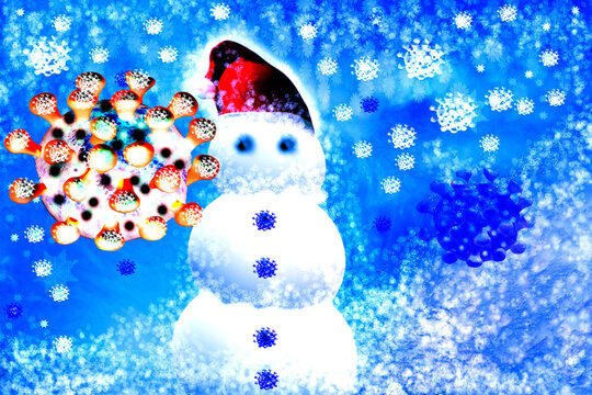 Christmas snowman with snow. Covid-19 concept.