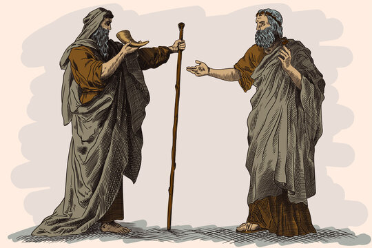 Two elders in ancient Greek clothes drink wine from the horn and talk.